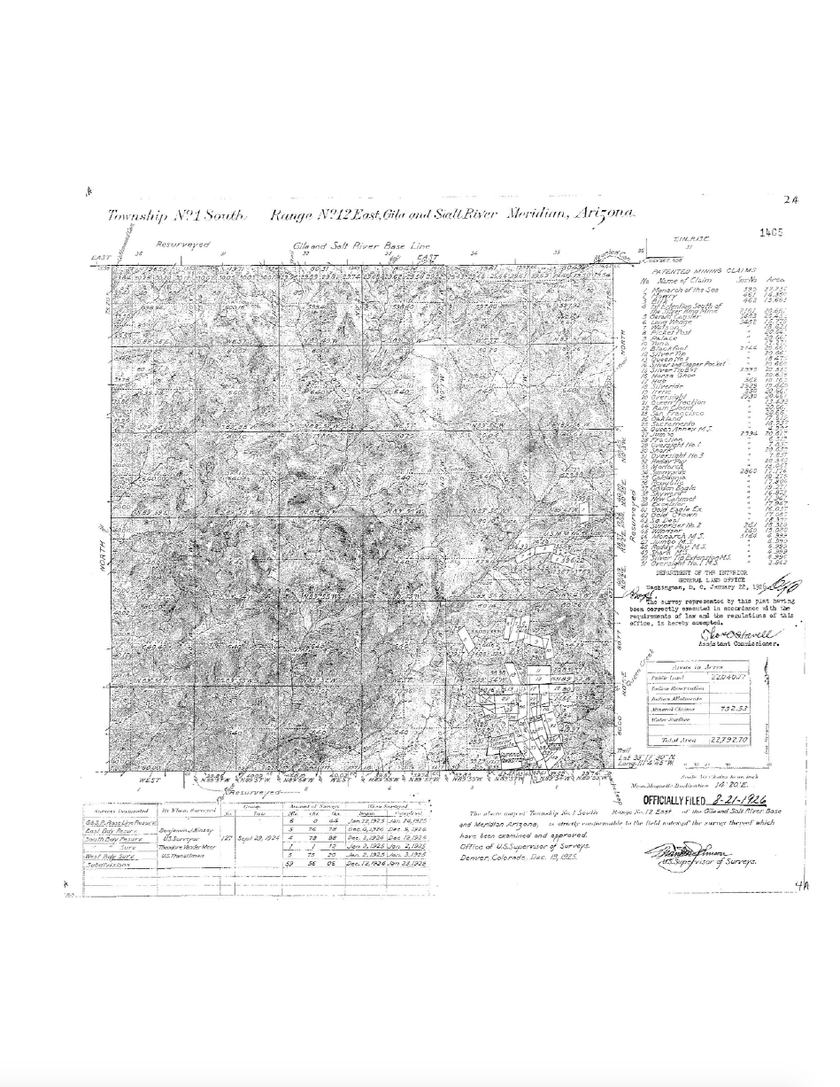 Thumbnail image of document cover: Map of Gila and Salt River Base Line