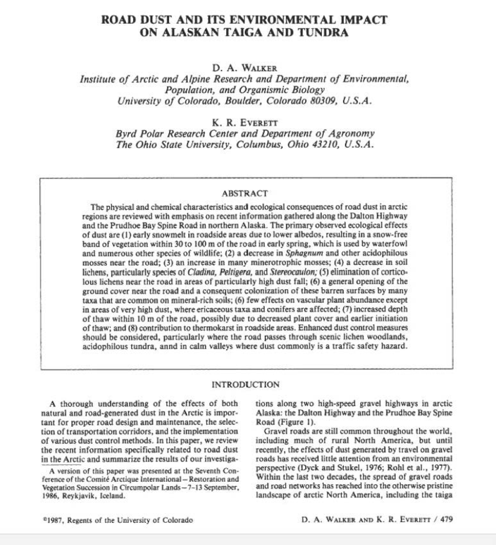 Thumbnail image of document cover: Road Dust and its Environmental Impact on Alaskan Taiga and Tundra
