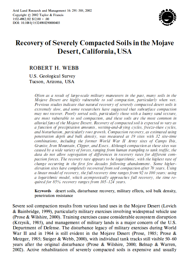 Thumbnail image of document cover: Recovery of Severely Compacted Soils in the Mojave Desert, California, USA