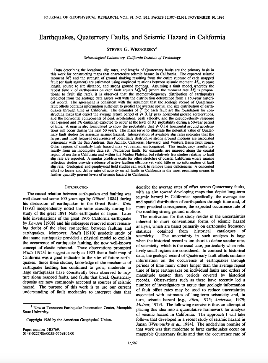 Thumbnail image of document cover: Earthquakes, Quaternary Faults, and Seismic Hazard in California