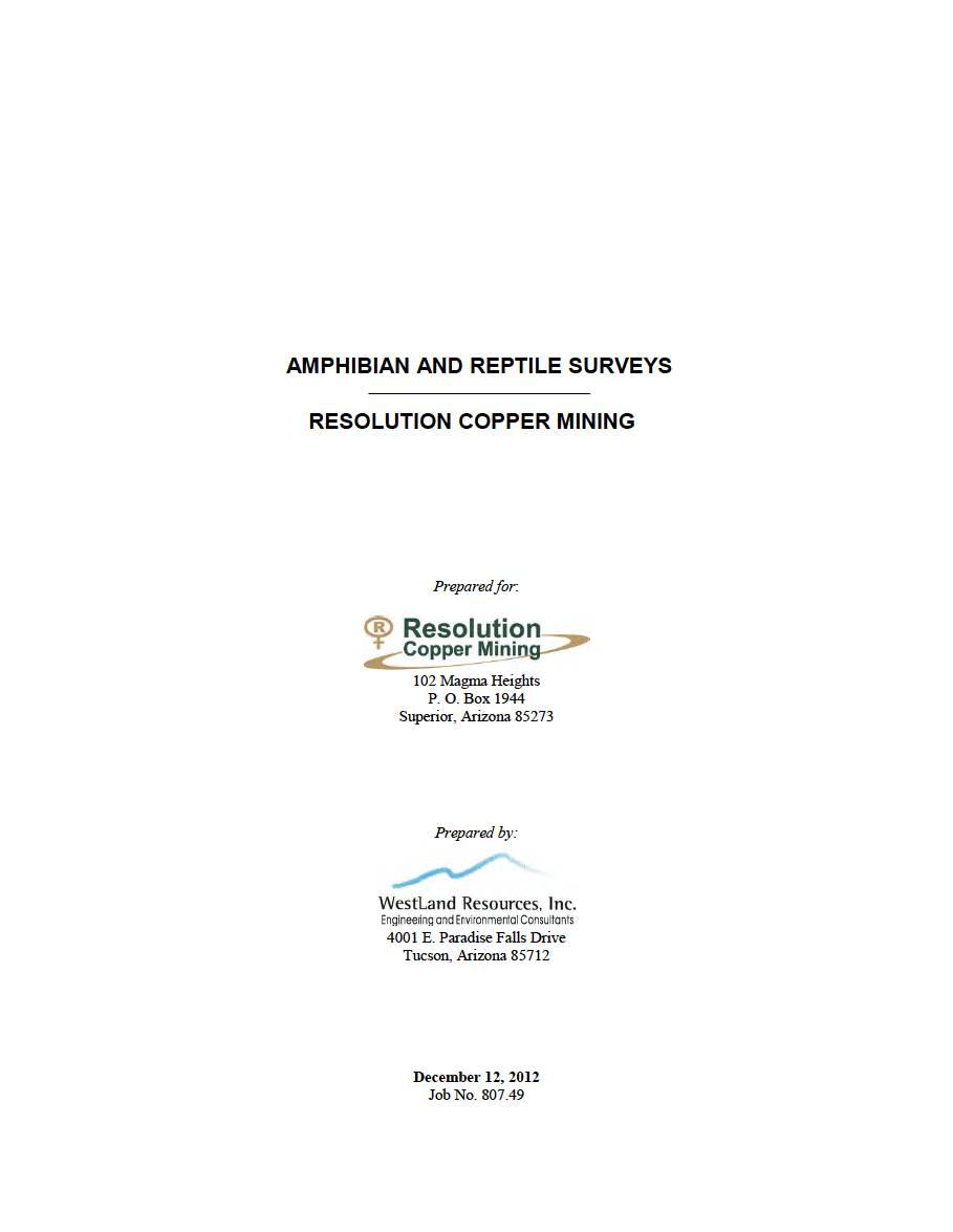Thumbnail image of document cover: Amphibian and Reptile Surveys