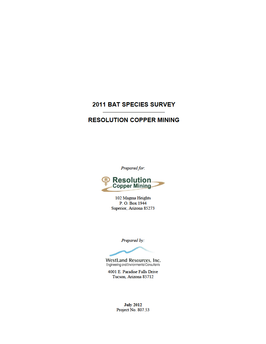 Thumbnail image of document cover: 2011 Bat Species Survey: Resolution Copper Mining