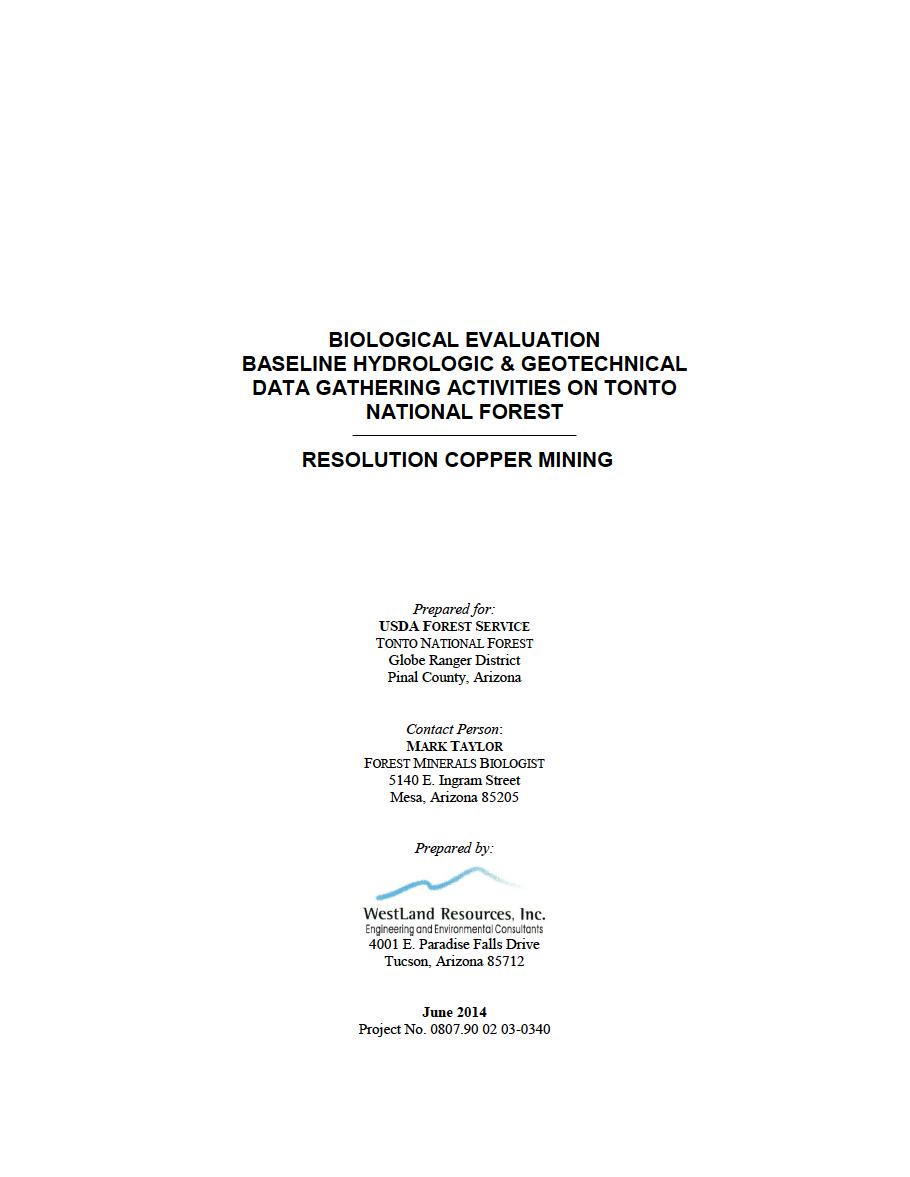 Thumbnail image of document cover: Biological Evaluation, Baseline Hydrologic & Geotechnical Data Gathering Activities on Tonto National Forest