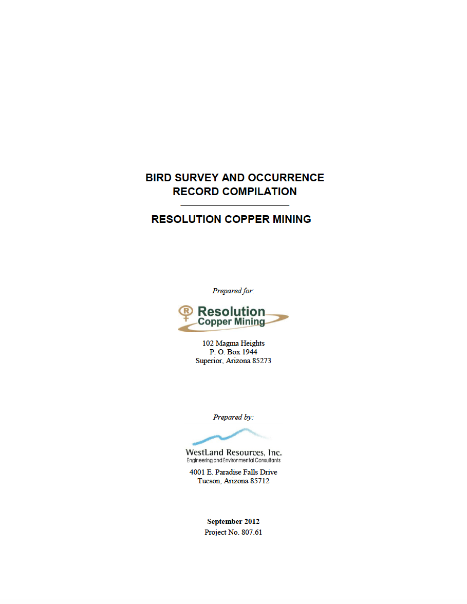 Thumbnail image of document cover: Bird Survey and Occurrence Record Compilation: Resolution Copper Mining