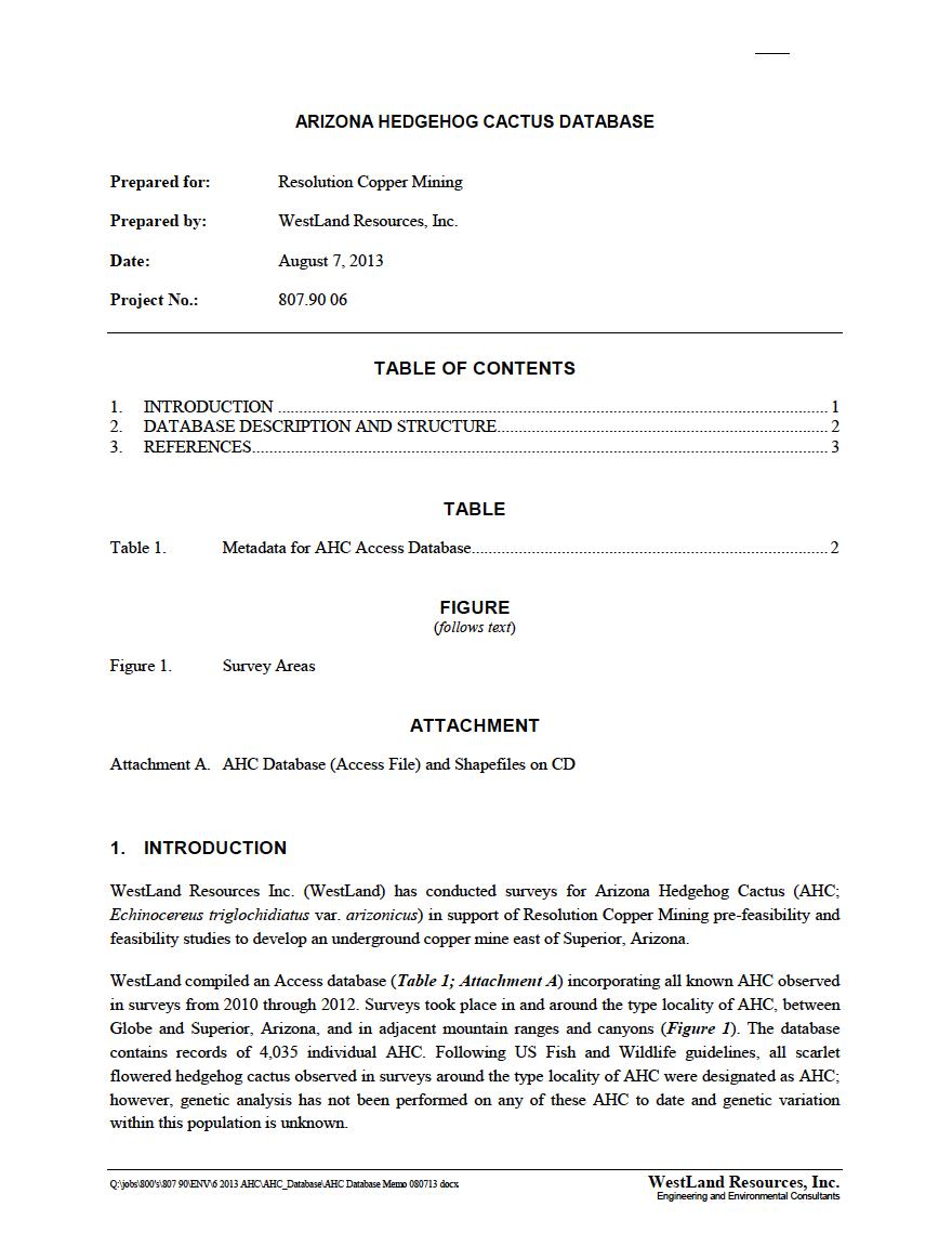 Thumbnail image of document cover: Arizona Hedgehog Cactus Database