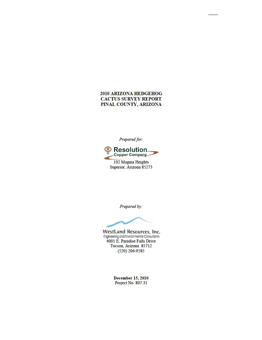 Thumbnail image of document cover: 2010 Arizona Hedgehog Cactus Survey Report, Pinal County, Arizona