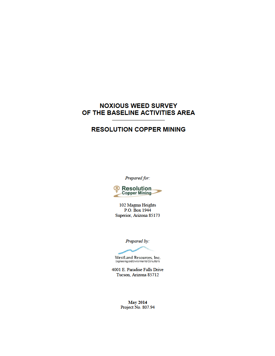 Thumbnail image of document cover: Noxious Weed Survey of the Baseline Activities Area: Resolution Copper Mining