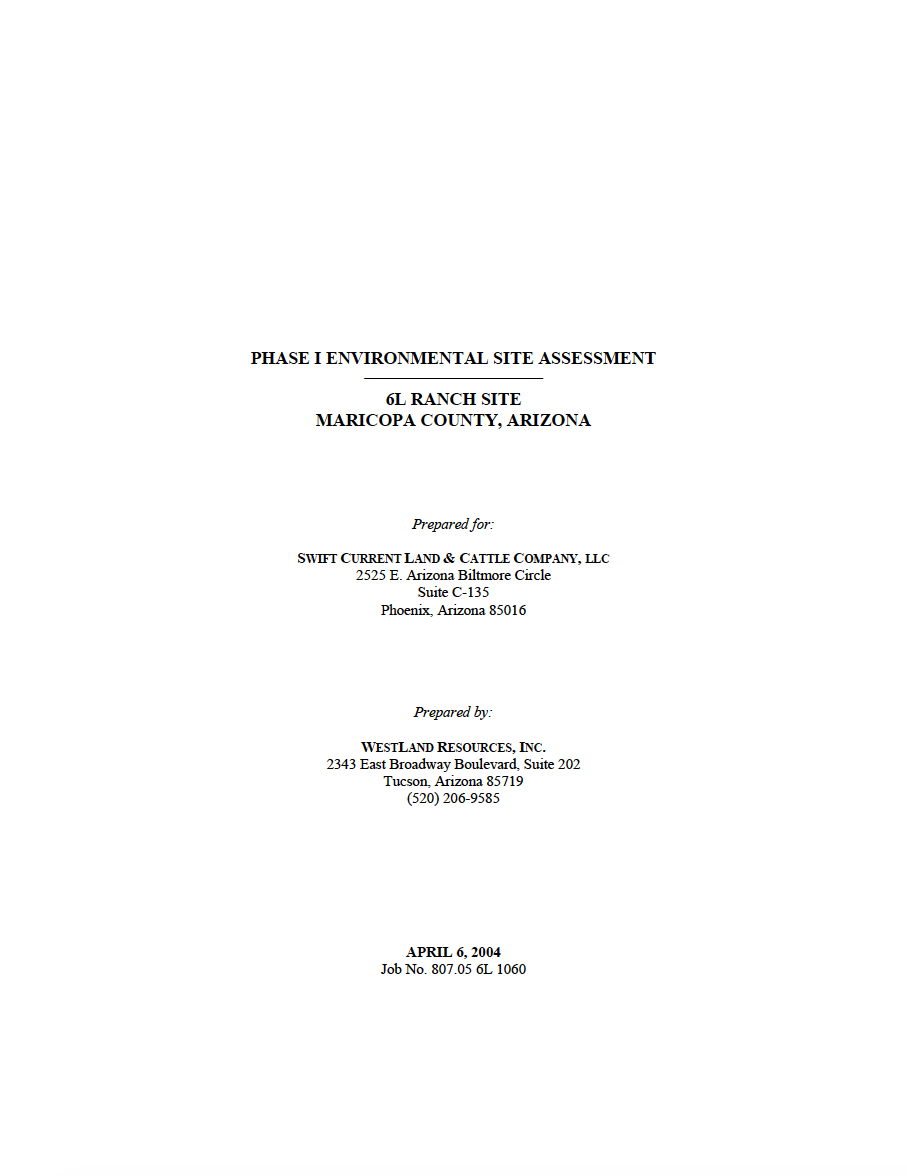 Thumbnail image of document cover: Phase I Environmental Site Assessment 6L Ranch Site, Maricopa County, Arizona