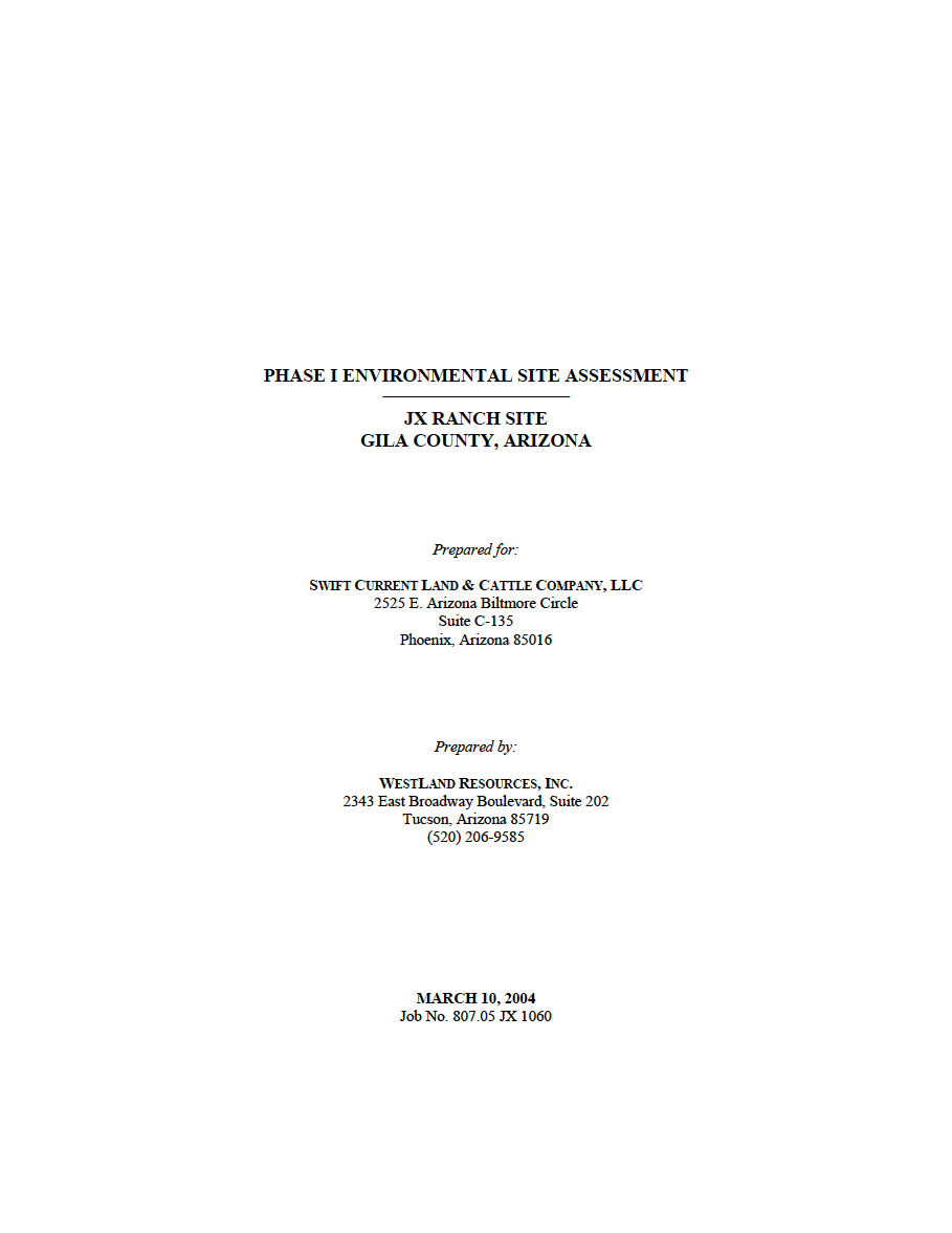 Thumbnail image of document cover: Phase I Environmental Site Assessment JX Ranch Site, Gila County, Arizona