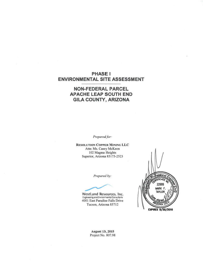 Thumbnail image of document cover: Phase I Environmental Site Assessment Apache Leap South End