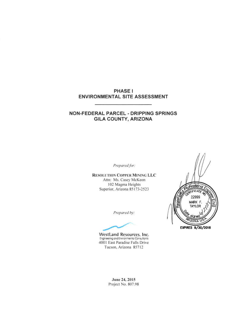 Thumbnail image of document cover: Phase I Site Assessment Non-Federal Parcel - Dripping Springs
