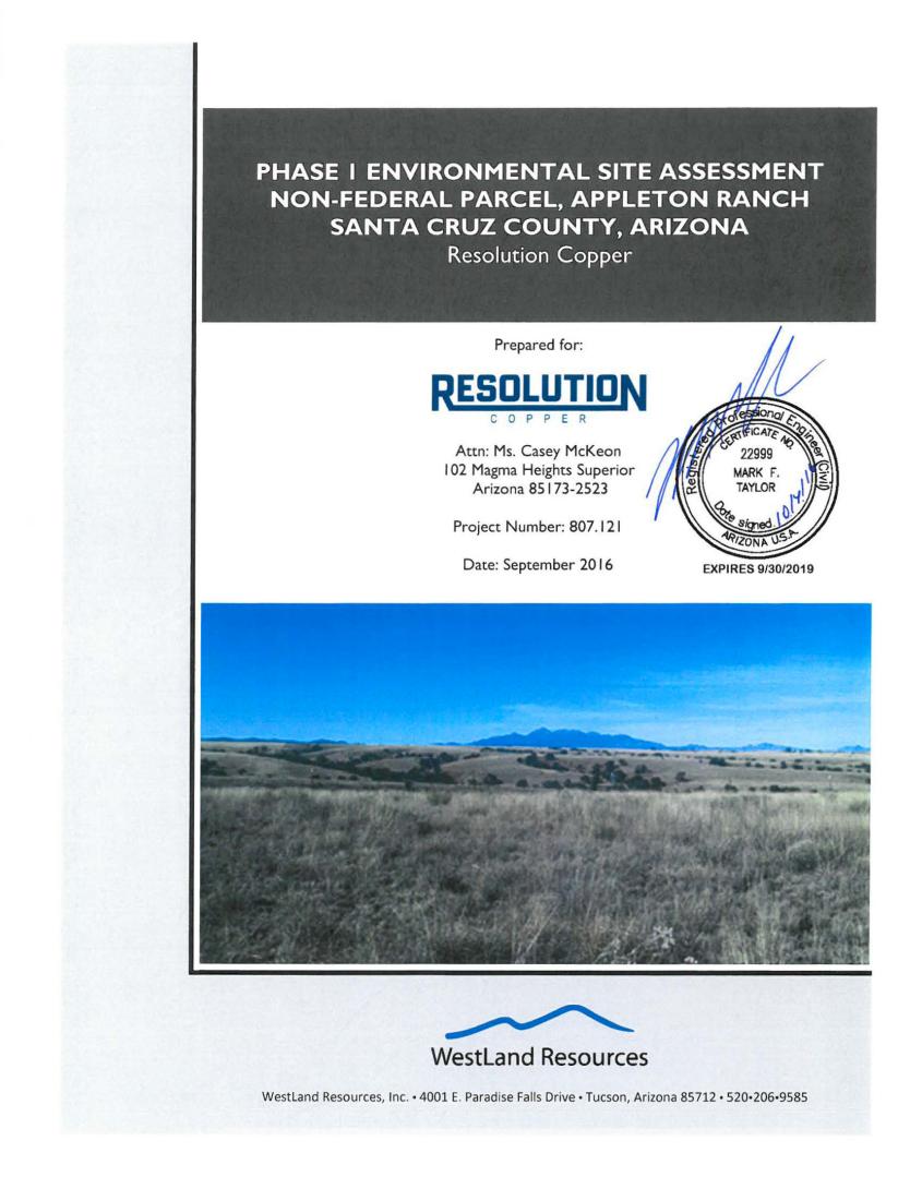 Thumbnail image of document cover: Phase I Environmental Site Assessment Non-Federal Parcel, Appleton Ranch, Santa Cruz County, Arizona