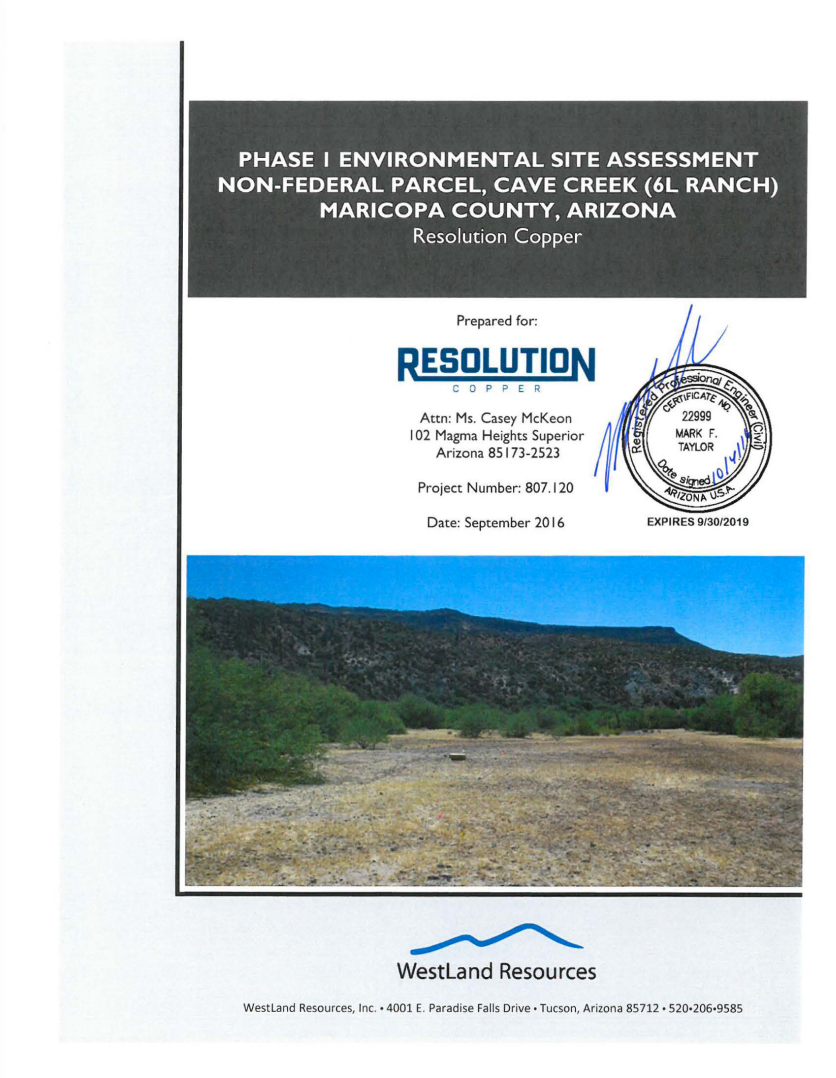 Thumbnail image of document cover: Phase I Environmental Site Assessment Non-Federal Parcel, Cave Creek (6L Ranch), Maricopa County, Arizona