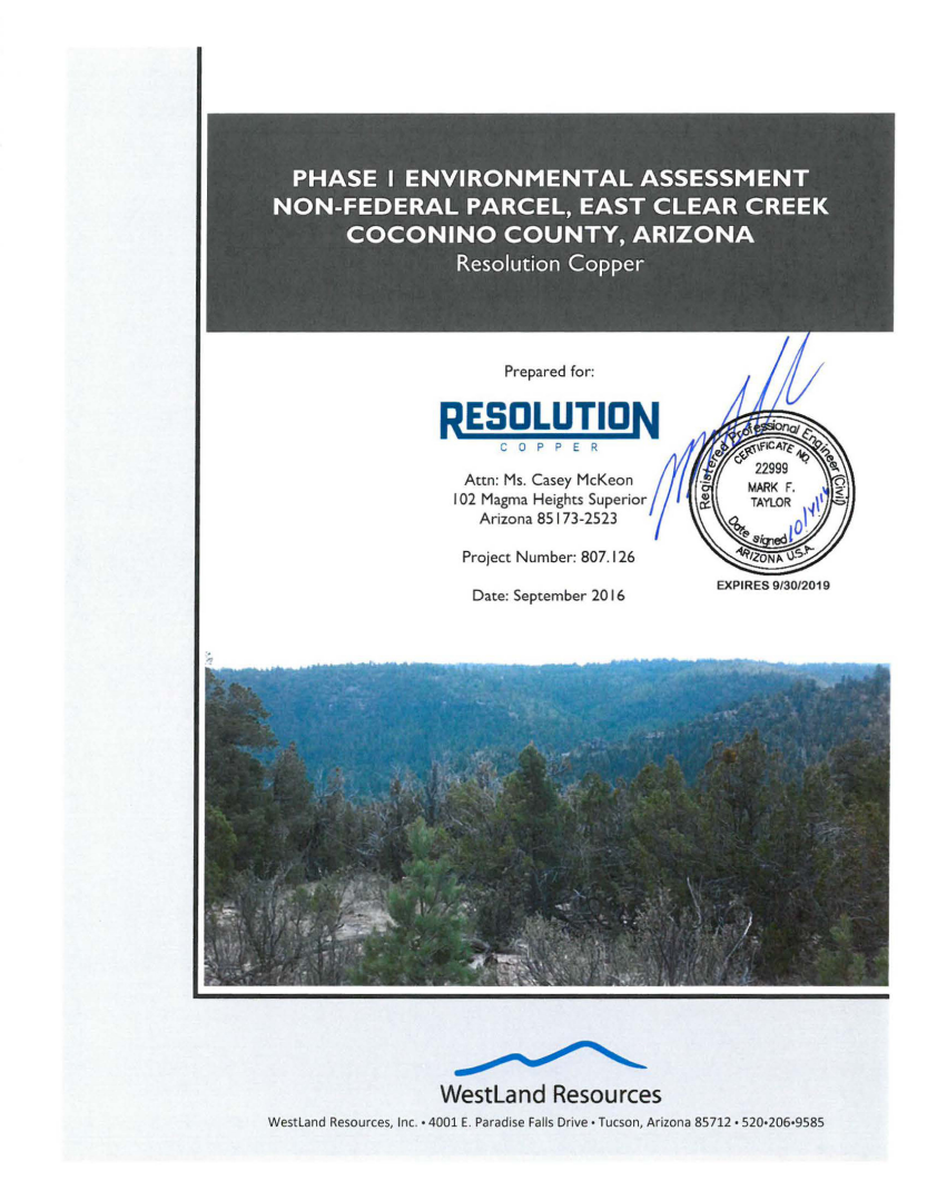 Thumbnail image of document cover: Phase I Environmental Site Assessment Non-Federal Parcel, East Clear Creek, Coconino County, Arizona