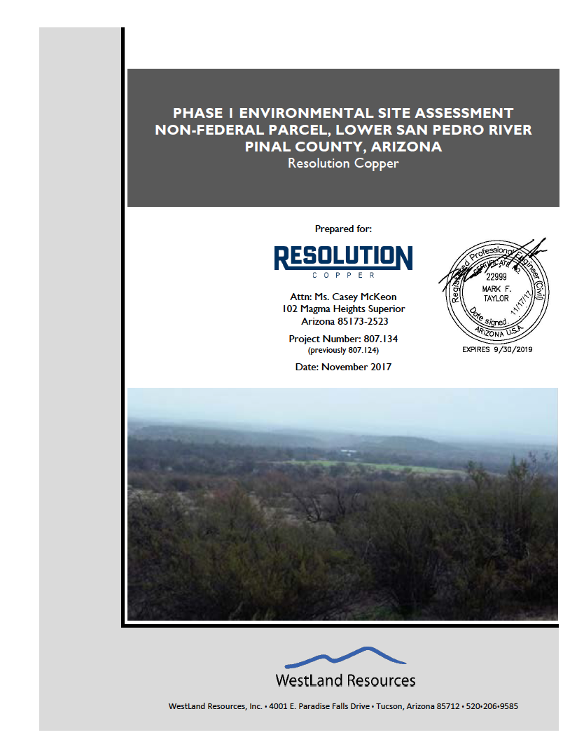 Thumbnail image of document cover: Phase I Environmental Site Assessment, Non-Federal Parcel, Lower San Pedro River, Pinal County, Arizona