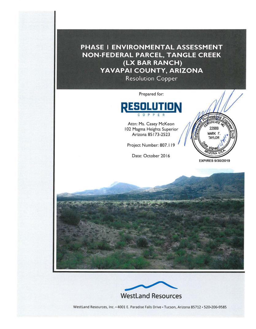 Thumbnail image of document cover: Phase I Environmental Site Assessment Non-Federal Parcel, Tangle Creek (LX Bar Ranch), Yavapai County, Arizona