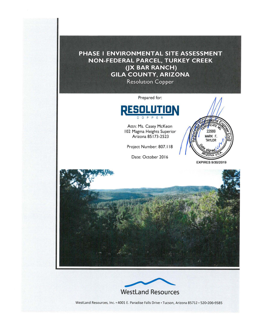Thumbnail image of document cover: Phase I Environmental Site Assessment Non-Federal Parcel, Turkey Creek (JX Bar Ranch), Gila County, Arizona