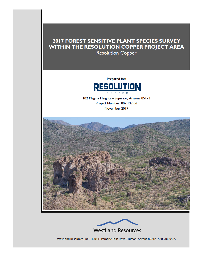 Thumbnail image of document cover: 2017 Forest Sensitive Plant Species Survey Within the Resolution Copper Project