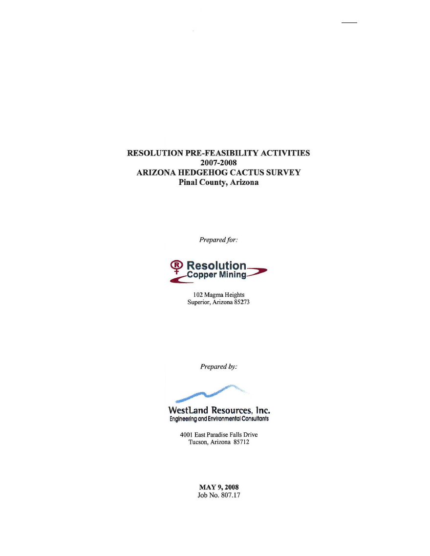 Thumbnail image of document cover: Resolution Pre-Feasibility Activities 2007-2008, Arizona Hedgehog Cactus Survey, Pinal County, Arizona