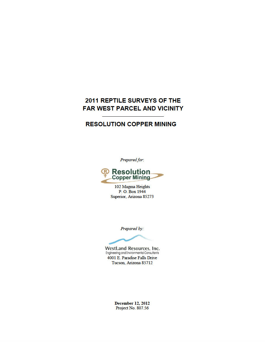 Thumbnail image of document cover: 2011 Reptile Surveys of the Far West Parcels and Vicinity: Resolution Copper Mining