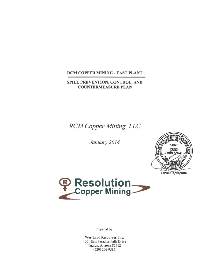 Thumbnail image of document cover: RCM Copper Mining - East Plant: Spill Prevention, Control, and Countermeasure Plan