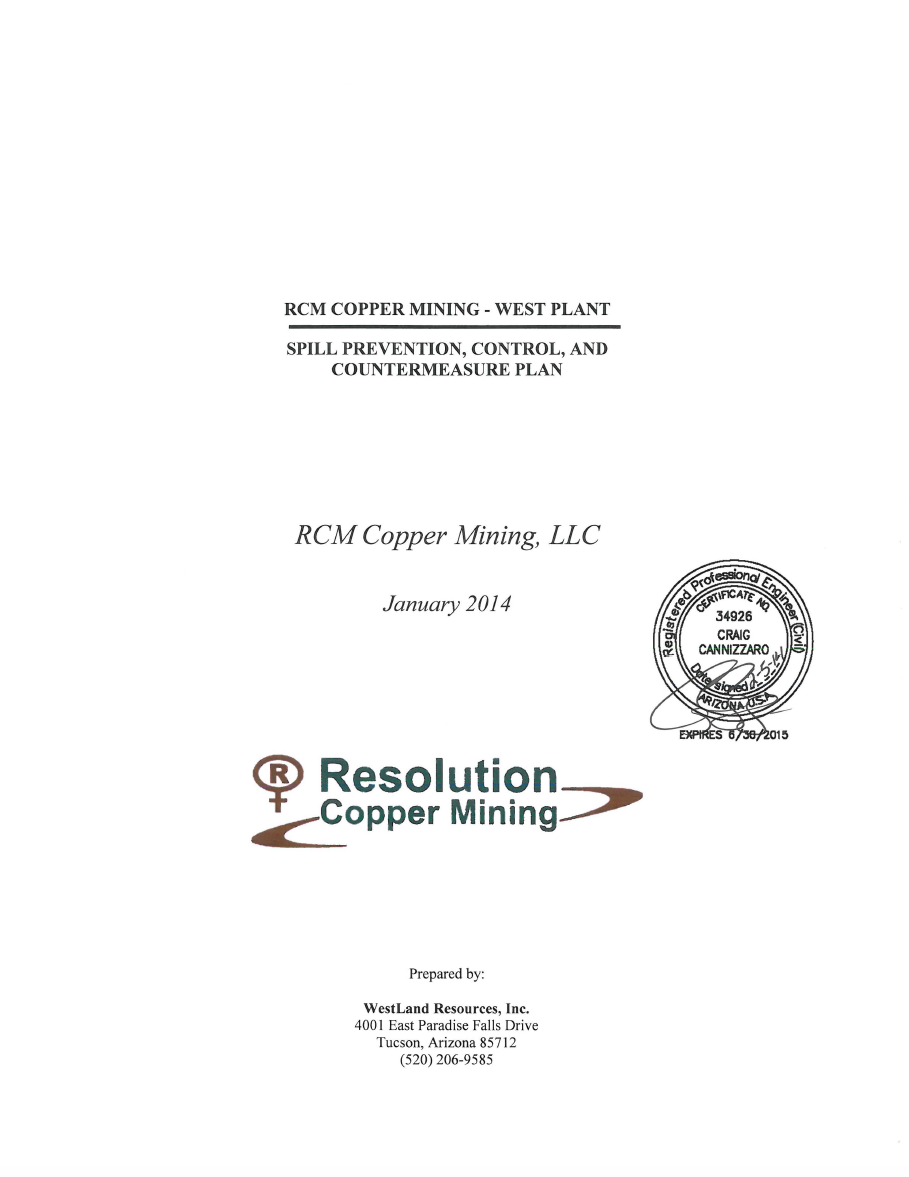 Thumbnail image of document cover: RCM Copper Mining - West Plant: Spill Prevention, Control, and Countermeasure Plan