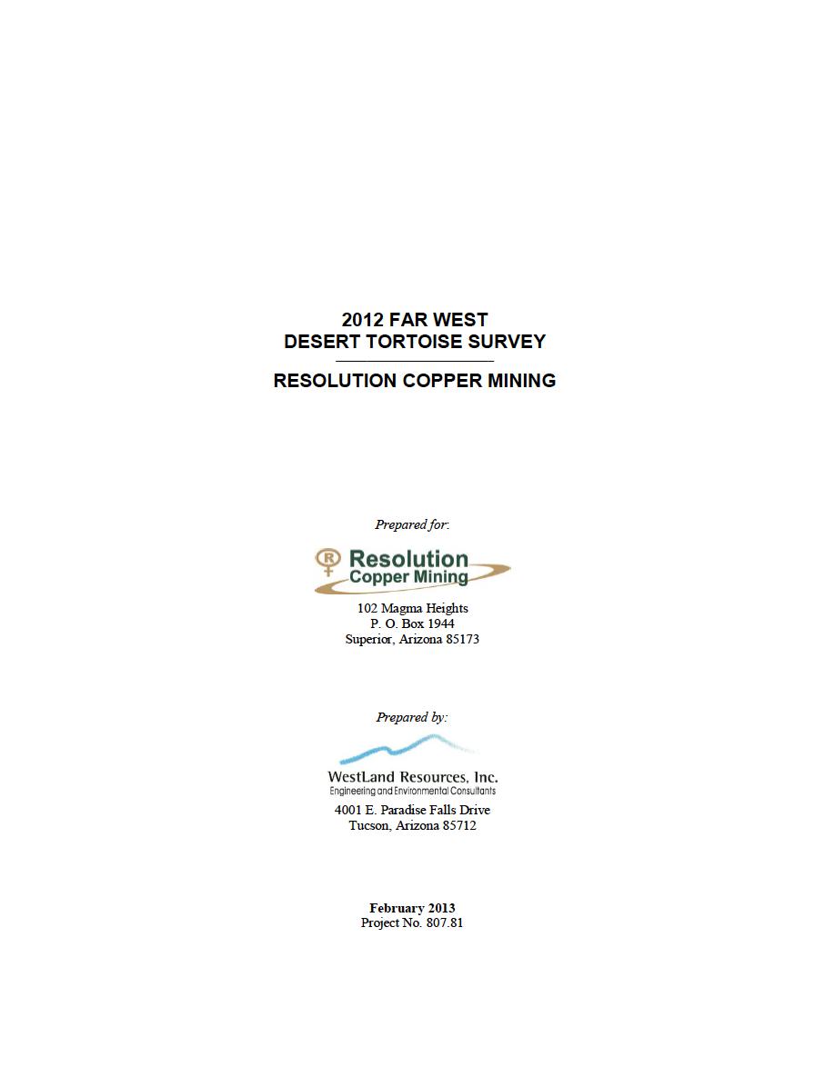 Thumbnail image of document cover: 2012 Far West Desert Tortoise Survey: Resolution Copper Mining