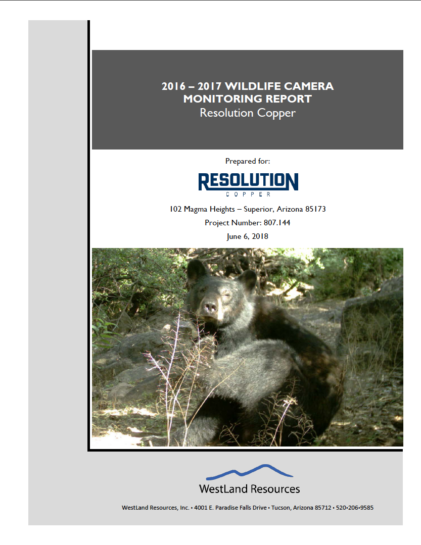 Thumbnail image of document cover: 2016 - 2017 Wildlife Camera Monitoring Report