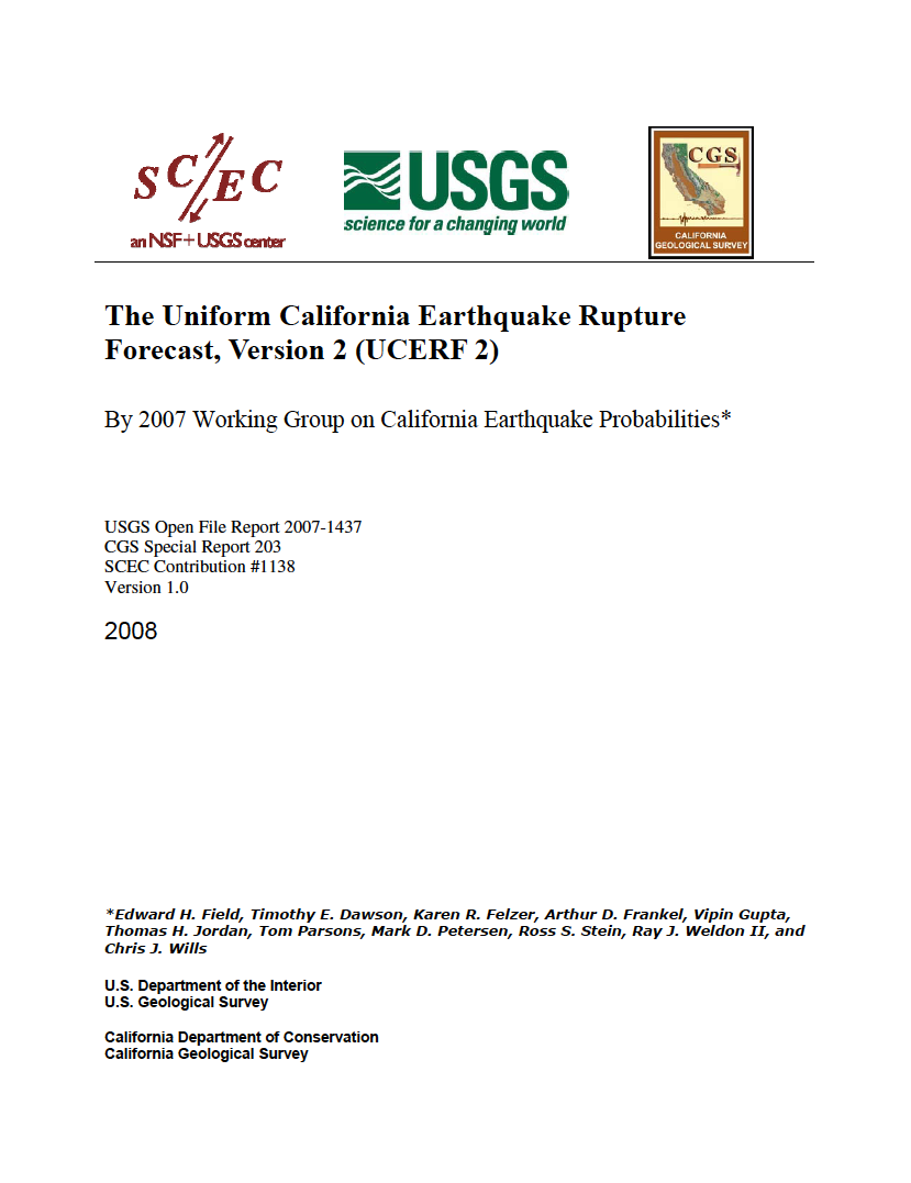 Thumbnail image of document cover: The Uniform California Earthquake Rupture Forecast, Version 2 (UCERF 2)