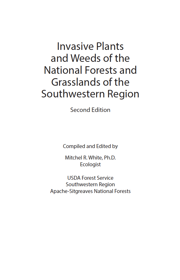 Thumbnail image of document cover: Invasive Plants and Weeds of the National Forests and Grasslands in the Southwestern Region