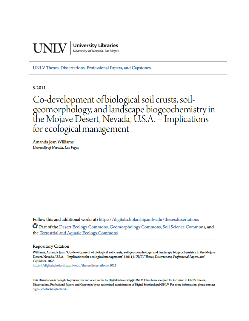 Thumbnail image of document cover: Co-development of Biological Soil Crusts, Soil-geomorphology, and Landscape Biogeochemistry in the Mojave Desert, Nevada, U.S.A. - Implications for Ecological Management