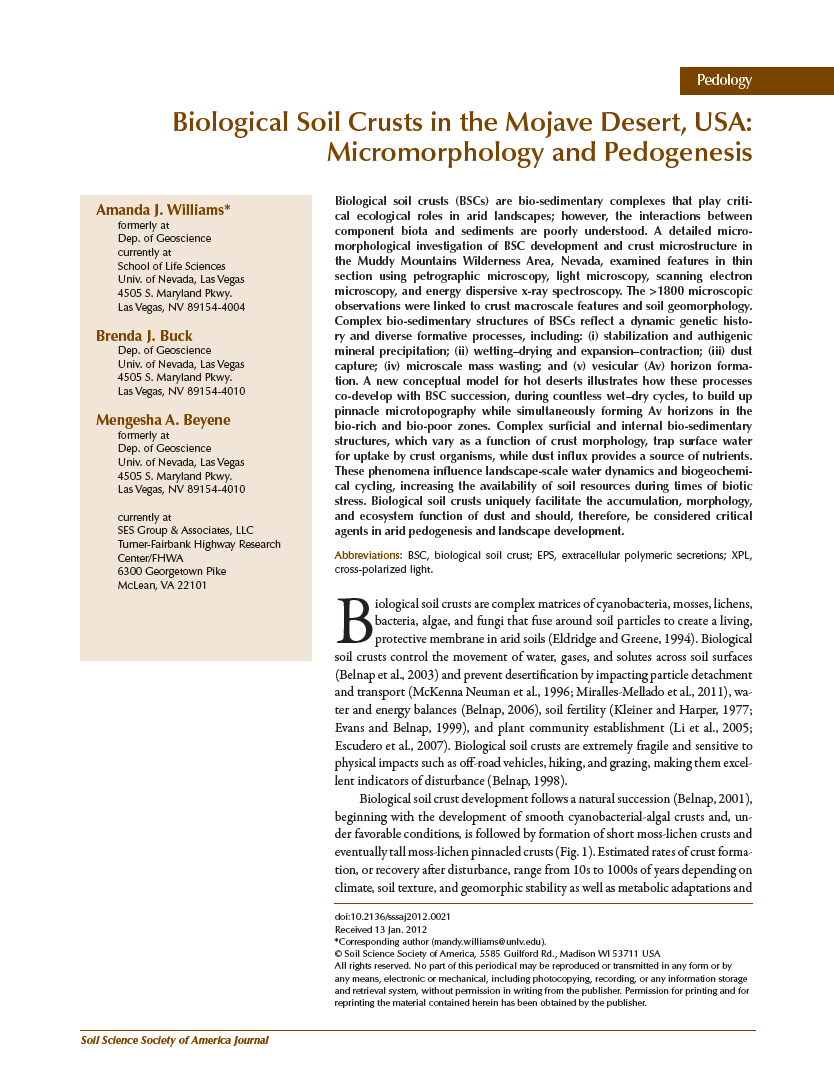 Thumbnail image of document cover: Biological Soil Crusts in the Mojave Desert, USA: Micromorphology and Pedogenesis