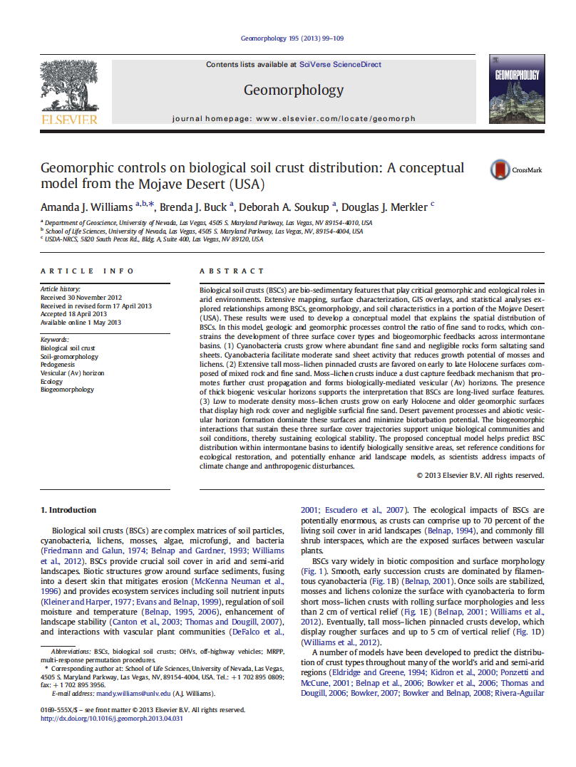 Thumbnail image of document cover: Geomorphic Controls on Biological Soil Crust Distribution: A Conceptual Model from the Mojave Desert (USA)