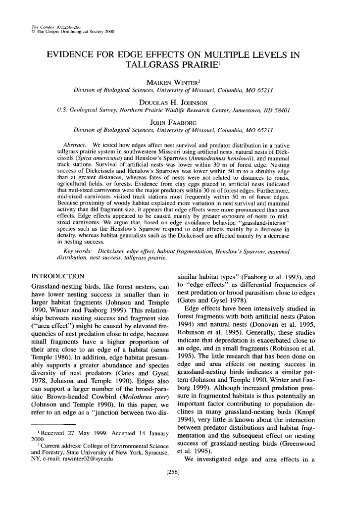 Thumbnail image of document cover: Evidence for Edge Effects on Multiple Levels in Tallgrass Prairie