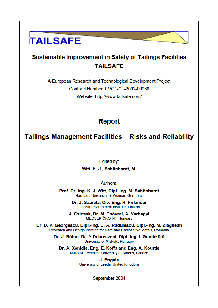 Thumbnail image of document cover: Tailings Management Facilities - Risks and Reliability