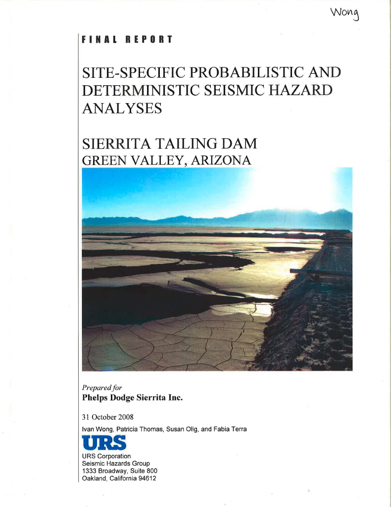 Thumbnail image of document cover: Site-Specific Probabilistic and Deterministic Seismic Hazard Analyses for Sierrita Tailing Dam, Green Valley, Arizona