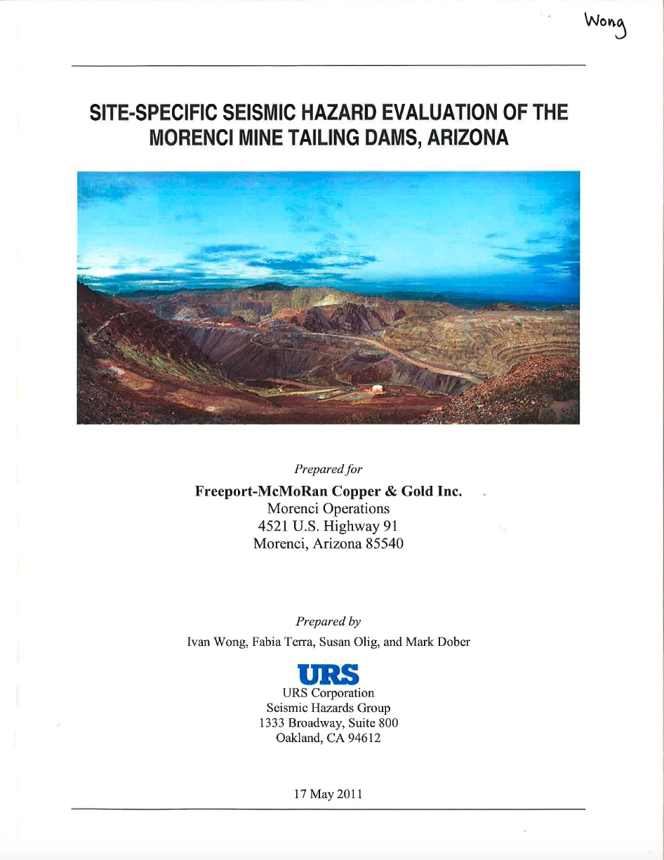 Thumbnail image of document cover: Site-Specific Seismic Hazard Evaluation of the Morenci Mine Tailing Dam, Arizona