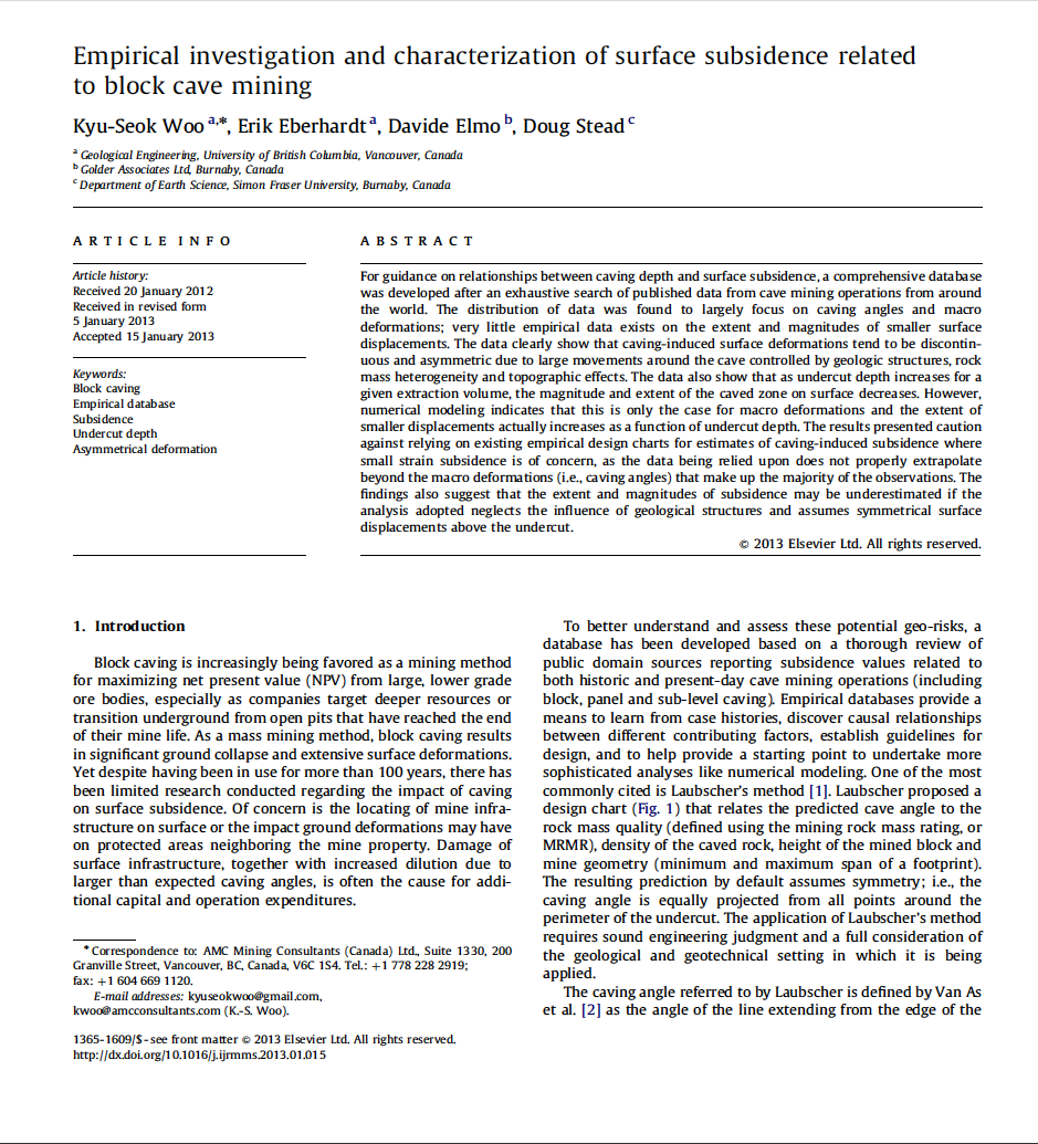 Thumbnail image of document cover: Empirical Investigation and Characterization of Surface Subsidence Related to Block Cave Mining