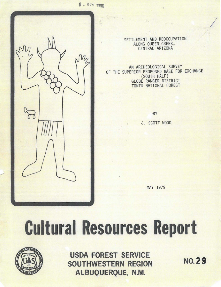 Thumbnail image of document cover: Settlement and Reoccupation along Queen Creek, Central Arizona: An Archaeological Survey of the Superior Proposed Based for Exchange (South Half), Globe Ranger District, Tonto National Forest
