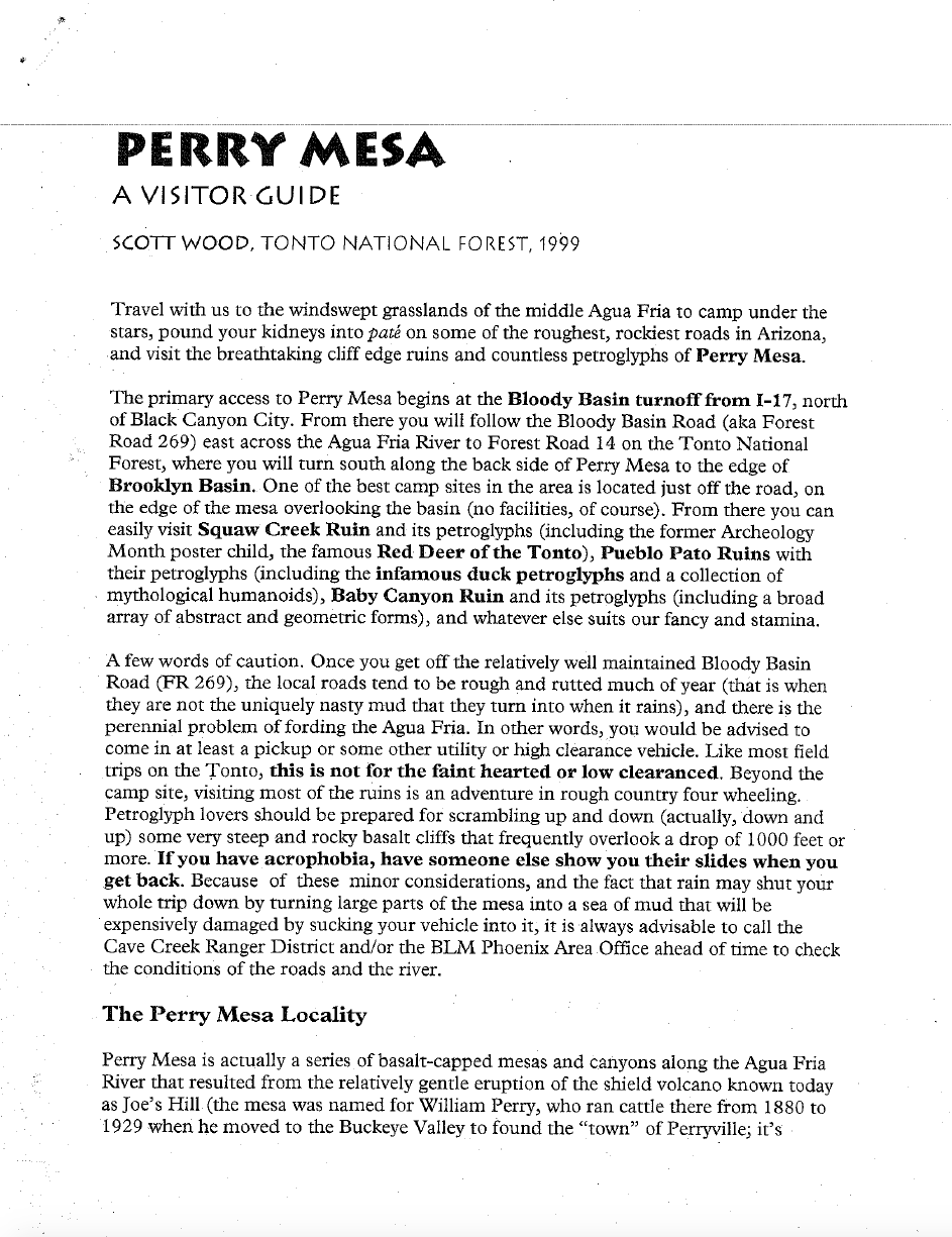 Thumbnail image of document cover: Perry Mesa, a Visitor's Guide