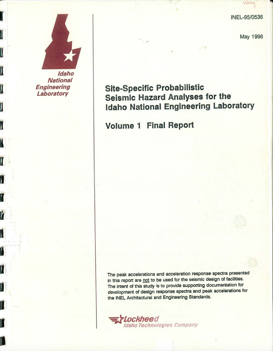 Thumbnail image of document cover: Site-Specific Probabilistic Seismic Hazard Analyses for the Idaho National Engineering Laboratory