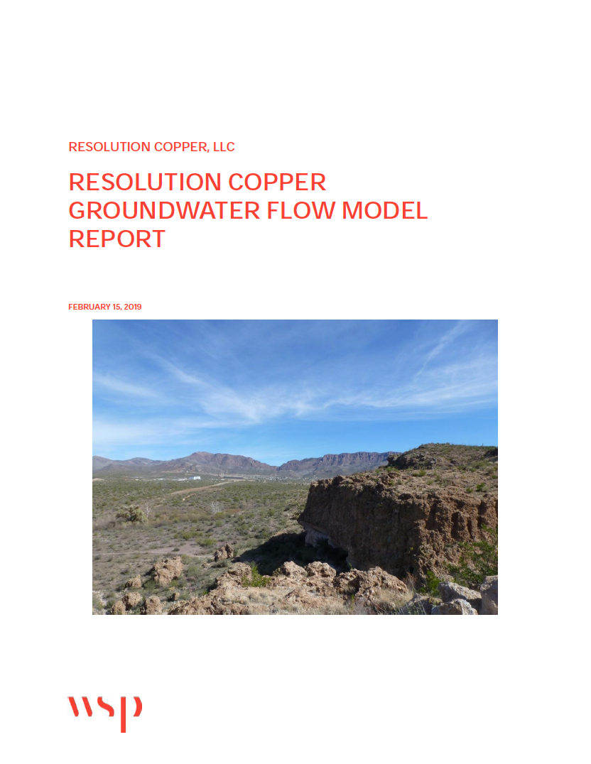 Thumbnail image of document cover: Resolution Copper Groundwater Flow Model Report