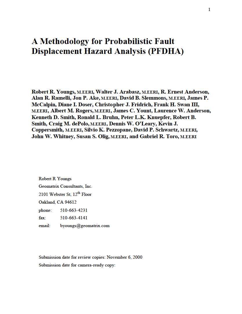 Thumbnail image of document cover: A Methodology for Probabalistic Fault Displacement Hazard Analysis (PFDHA)
